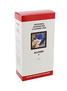Allegro 037-3001 Respirator Cleaning Pads, 5 in x 8 in, White (Box of 100)