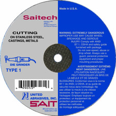 "United Abrasives Saitech 23165 Cutoff Wheel   Type 1   Ceramic Aluminum Oxide   4"" x 1/16"" x 3/8""   19, 000 RPM"