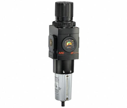 "ARO P39454-610 3/4"" Relieving Piggyback Filter-Regulator | 3000 Series | Metal Bowl with Gauge | 236 SCFM"