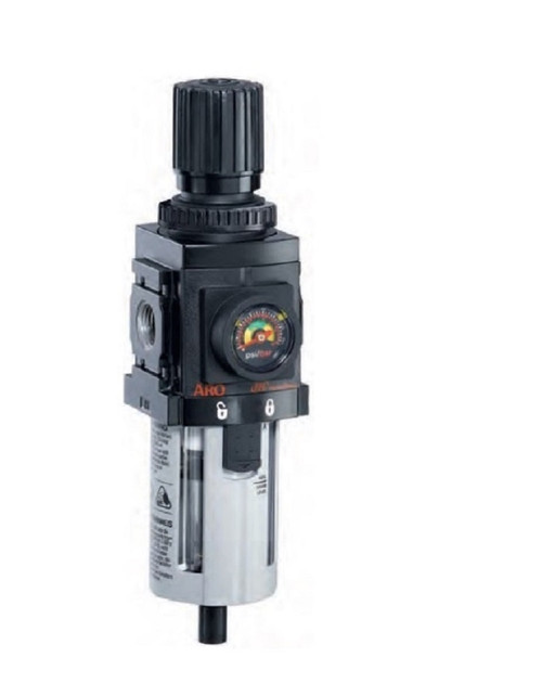 "ARO P39234-100 3/8"" Relieving Piggyback Filter-Regulator | 1500 Series | Polycarbonate Bowl | 90 SCFM"