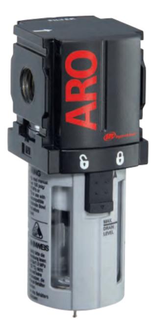 "ARO F35121-400 1/4"" Filter | 1000 Series | Manual Drain | Polycarbonate Bowl with Guard | 49 SCFM"