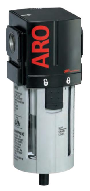 "ARO F35331-400 3/8"" Filter   2000 Series   Manual Drain   Polycarbonate Bowl with Guard   156 SCFM"