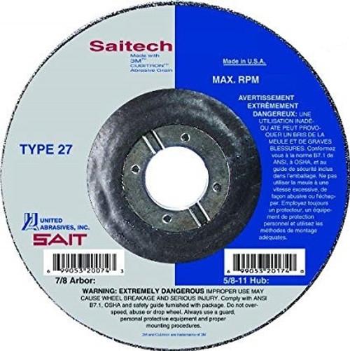 "United Abrasives 1/4"" Type 27 Ceramic Grinding Wheel | 20048 | 7"" Diameter"