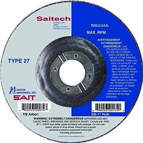 "United Abrasives 1/4"" Type 27 Ceramic Grinding Wheel with Hub| 20148 | 7"" Diameter"