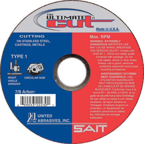 "United Abrasives .045"" Type 1 Ultimate Ceramic Cut-Off Wheel   22230   4-1/2"" Diameter"