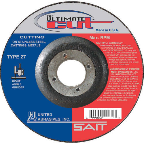 "United Abrasives .045"" Type 27 Ultimate Cut Cut-Off Wheel | 22390 | 6"" Diameter"