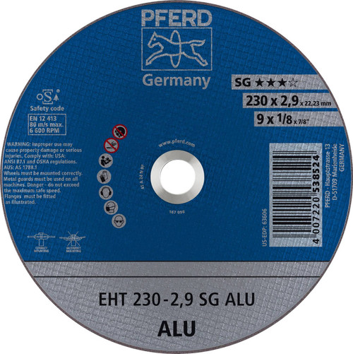 """PFERD .045"""" Type 1 Flat Cut-Off Wheel A N SG ALU 7/8"""" Arbor Hole"""