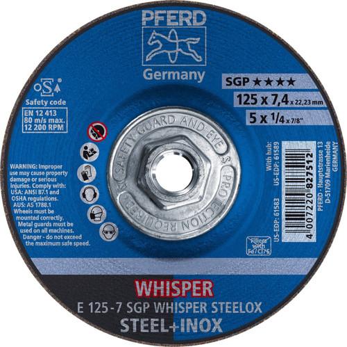 """PFERD 1/4"""" Type 27 WHISPER Aluminum Oxide Grinding Wheel Plain Arbor Hole"""
