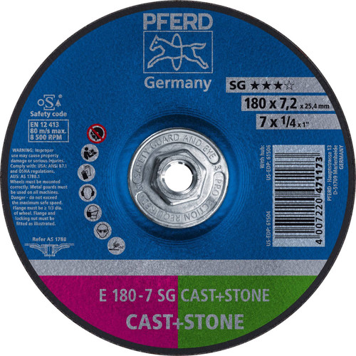 "PFERD 1/4"" Type 27 Grinding Wheel C 24 Q SG Depressed 5/8-11"" Thread Hole"