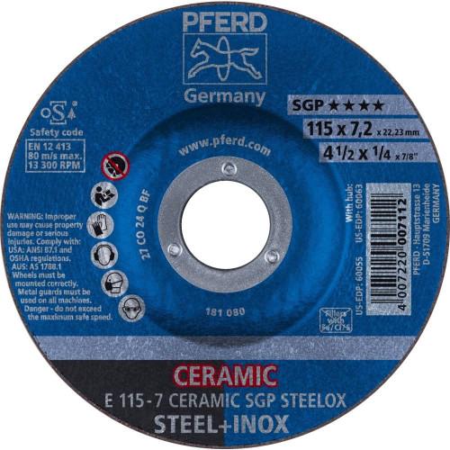 "PFERD 1/4"" Ceramic Oxide Grinding Wheel CO 24 Q SG Plain Arbor Hole"