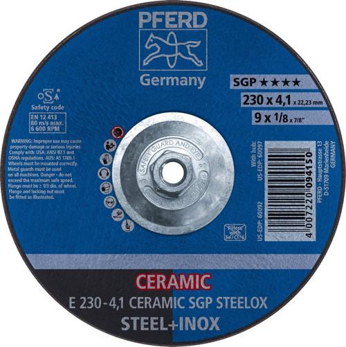 "PFERD 1/8"" Type 27 Ceramic Oxide Grinding Wheel Plain Arbor Hole"