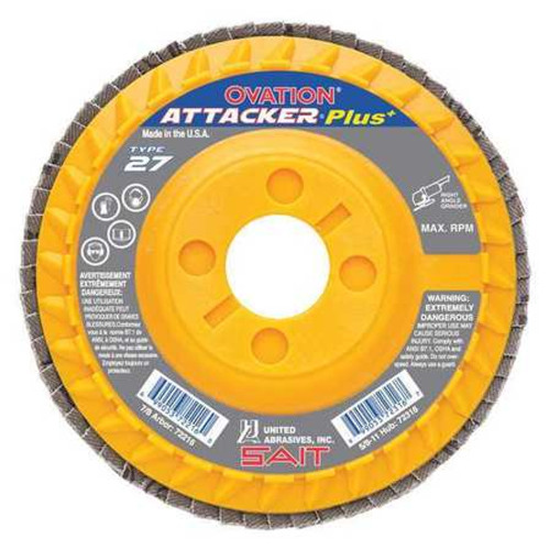 """United Abrasives 4-1/2"""" Type 27 Ovation Attacker Plus Flap Disc 