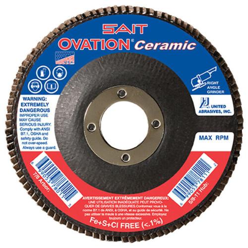 "United Abrasives 4-1/2"" Type 27 Ovation Ceramic Flap Disc | 78260 | 36 Grit"