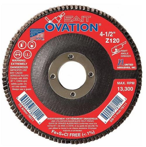 "United Abrasives 4-1/2"" Type 27 Ovation Flap Disc | 78011 | 120 Grit"