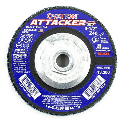 """United Abrasives 4-1/2"""" Type 27 Ovation Attacker Flap Disc 