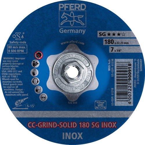"""PFERD Grinding Wheel CC-GRIND-SOLID 7/8"""" Arbor Hole"""