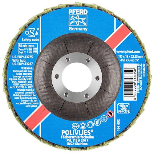 "PFERD 3/4"" Polivlies Non-Woven Flap Disc | 43275 | 7/8"" Arbor Hole | 4-1/2"" Diameter"