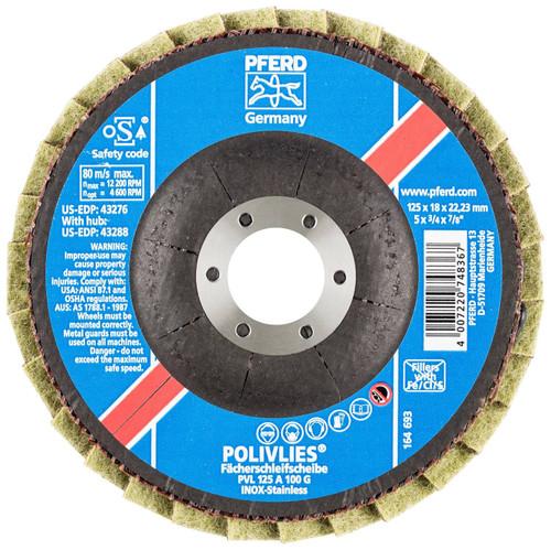 "PFERD 3/4"" Polivlies Non-Woven Flap Disc | 43276 | 7/8"" Arbor Hole | 5"" Diameter"