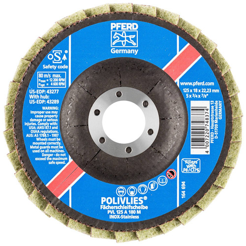 "PFERD 3/4"" Polivlies Non-Woven Flap Disc | 43277 | 7/8"" Arbor Hole | 5"" Diameter"