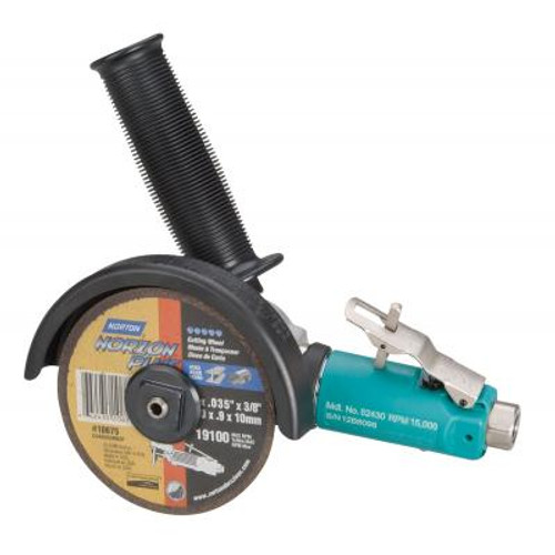 """Dynabrade 52430 4"""" 7 Degree Offset Cut-Off Wheel Tool   0.7 HP   15,000 RPM   Gearless   Front Exhaust   3/8""""-24 Spindle Thread"""