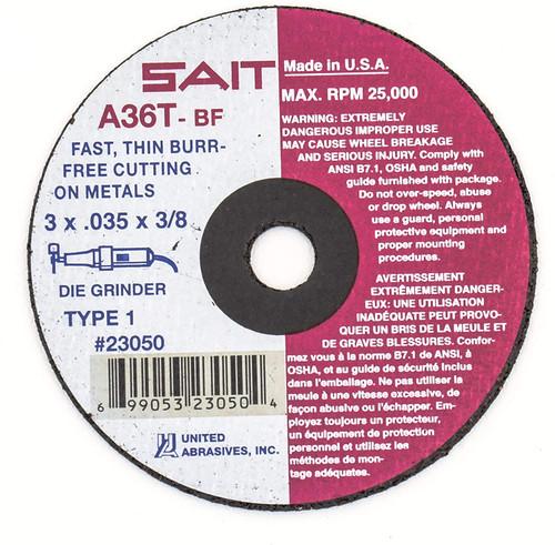 "United Abrasives 23040 Cut-Off Wheel | 3"" x 1/16"" x 3/8"" | Grade A36T | (Box of 50)"