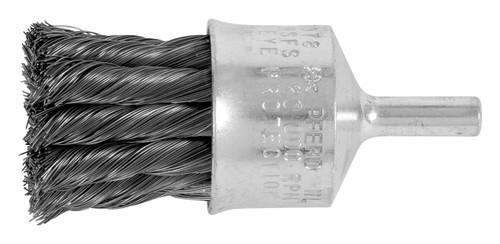 "PFERD 83073 Steel Knotted End Brush | 3/4"" Diameter | 0.020"" Wire Size | 20000 RPM | 1/4"" Shank Diameter"