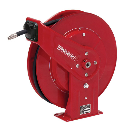 Reelcraft 7650 OHP Heavy Duty Spring Retractable Hose Reel | 3/8 in. Hose Diameter | 50 Ft. Hose Length | 4,800 Max PSI