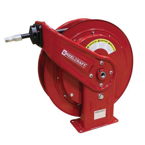 Reelcraft HD74050 OHP Heavy Duty Spring Retractable Hose Reel | 1/4 in. Hose Diameter | 50 Ft. Hose Length | 5,000 Max PSI