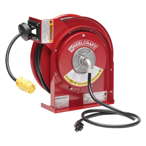 Reelcraft L 4050 163 3 Heavy Duty Power Cord Reel | 125 Volt / 13 Amp | 50 Ft. Cable Length | Single Receptacle