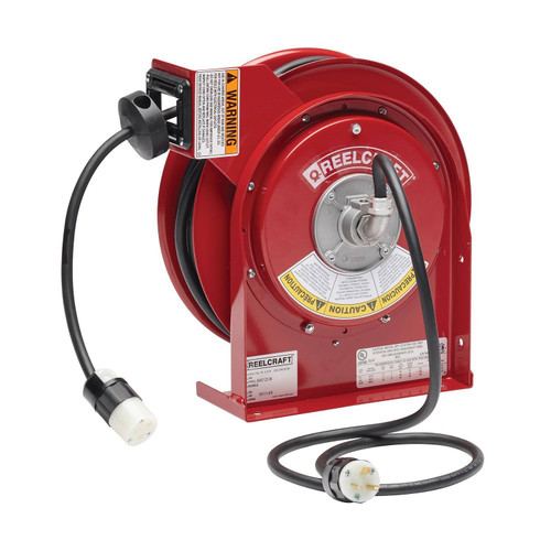 Reelcraft L 4545 123 3A Heavy Duty Power Cord Reel | 125 Volt / 20 Amp | 45 Ft. Cable Length | Single Connector