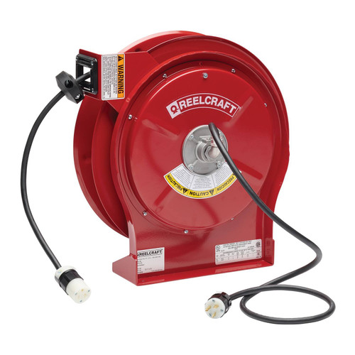 Reelcraft L 5550 123 3A Heavy Duty Power Cord Reel | 125 Volt / 20 Amp | 50 Ft. Cable Length | Single Connector