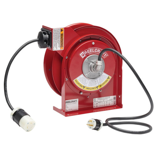 Reelcraft L 4545 123 3B Heavy Duty Power Cord Reel | 125 Volt / 20 Amp | 45 Ft. Cable Length | Twist Lock Connector