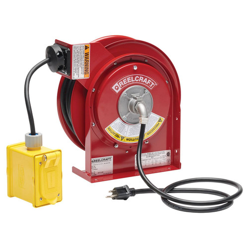 Reelcraft L 4545 123 7 Heavy Duty Power Cord Reel | 125 Volt / 15 Amp | 45 Ft. Cable Length | Duplex Outlet Box w/GFCI (F)