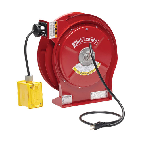 Reelcraft L 5550 123 7 Heavy Duty Power Cord Reel | 125 Volt / 20 Amp | 50 Ft. Cable Length | Duplex Outlet Box w/GFCI (F)