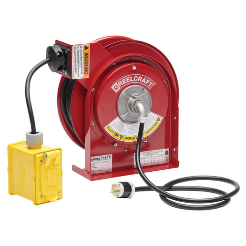 Reelcraft L 4545 123 7A Heavy Duty Power Cord Reel | 125 Volt / 20 Amp | 45 Ft. Cable Length | Duplex Outlet Box w/GFCI (F)