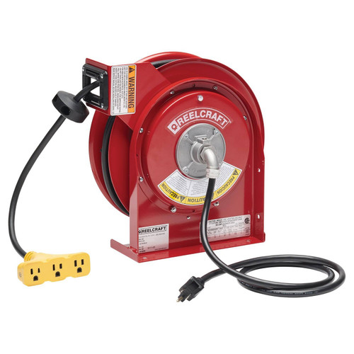 Reelcraft L 4050 163 9 Heavy Duty Power Cord Reel | 125 Volt / 13 Amp | 50 Ft. Cable Length | Triple Tap Receptacle