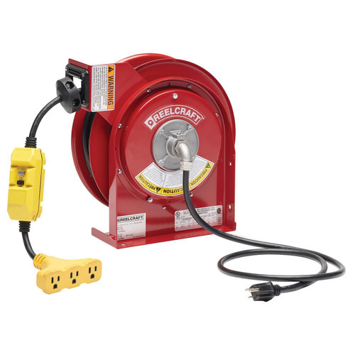 Reelcraft L 4545 123 9G Heavy Duty Power Cord Reel | 125 Volt / 15 Amp | 45 Ft. Cable Length | Triple Tap w/GFCI (F)
