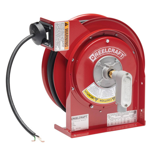 Reelcraft L 4050 163 X Heavy Duty Power Cord Reel | 125 Volt / 13 Amp | 50 Ft. Cable Length | Flying Lead