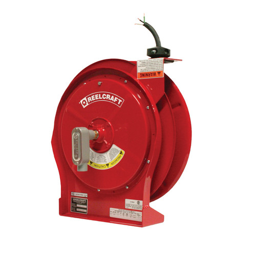 Reelcraft L 5550 123 X Heavy Duty Power Cord Reel | 125 Volt / 20 Amp | 50 Ft. Cable Length | Flying Lead