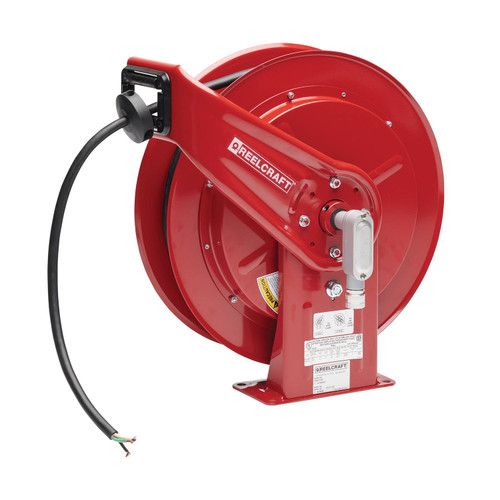 Reelcraft L 70100 124 X Heavy Duty Power Cord Reel | 600 Volt / 16 Amp | 100 Ft. Cable Length | Flying Lead