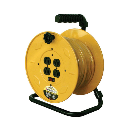 Reelcraft LH2080 143 Light Duty Portable Cord Reel | 125 Volt / 10 Amp | 80 Ft. Cable Length | 4 Outlets