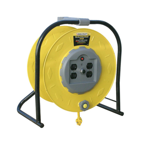 Reelcraft LH3100 Light Duty Portable Cord Reel | 125 Volt / 15 Amp | 100 Ft. Cable Length | 4 Outlets