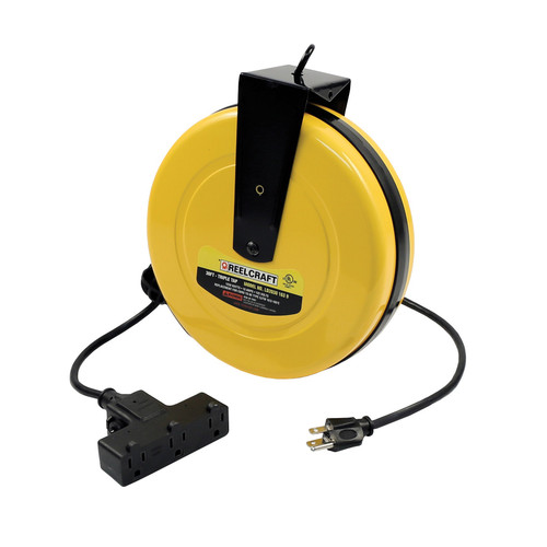 Reelcraft LD2030 163 9 Light And Medium Duty Cord Reel | 125 Volt / 10 Amp | 30 Ft. Cable Length | Triple Receptacle