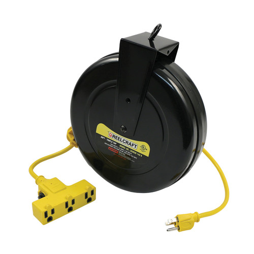 Reelcraft LD2030 143 9 Light And Medium Duty Cord Reel | 125 Volt / 13 Amp | 30 Ft. Cable Length | Triple Receptacle