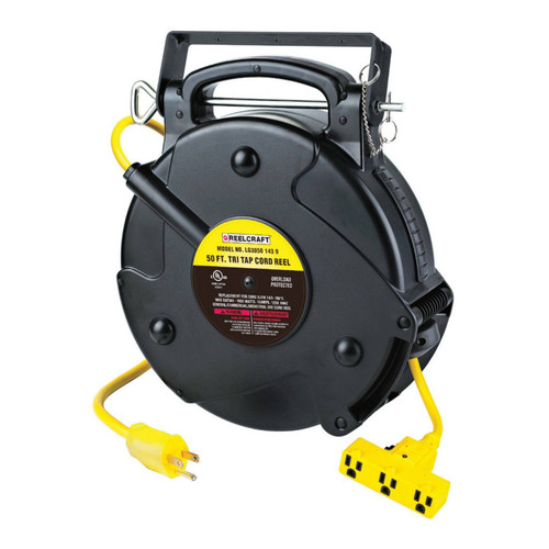Reelcraft LG3050 143 9 Light And Medium Duty Cord Reel   125 Volt / 13 Amp   50 Ft. Cable Length   Triple Receptacle