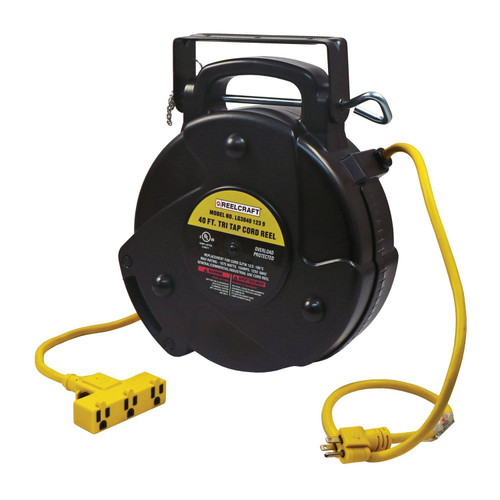 Reelcraft LG3040 123 9 Light And Medium Duty Cord Reel | 125 Volt / 15 Amp | 40 Ft. Cable Length | Triple Receptacle
