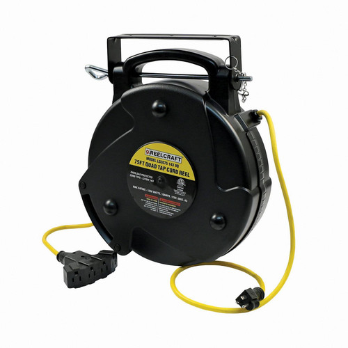 Reelcraft LG3075 143 9Q Light And Medium Duty Cord Reel | 125 Volt / 10 Amp | 75 Ft. Cable Length | Quad Outlet