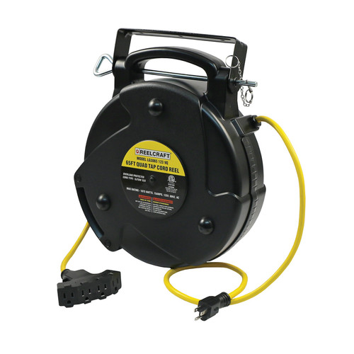 Reelcraft LG3065 123 9Q Light And Medium Duty Cord Reel | 125 Volt / 15 Amp | 65 Ft. Cable Length | Quad Outlet