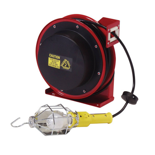 Reelcraft L 4050 163 1 Heavy Duty Light Cord Reel | 125 Volt / 10 Amp | 50 Ft. Cable Length | Incandescent