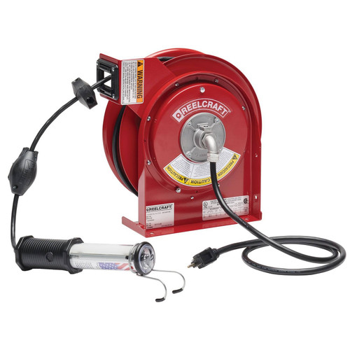 Reelcraft L 4050 163 10 Heavy Duty Light Cord Reel | 125 Volt / 13 Amp | 50 Ft. Cable Length | Led